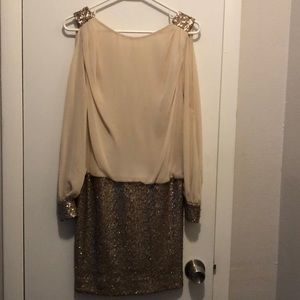 Caché gold and cream dress